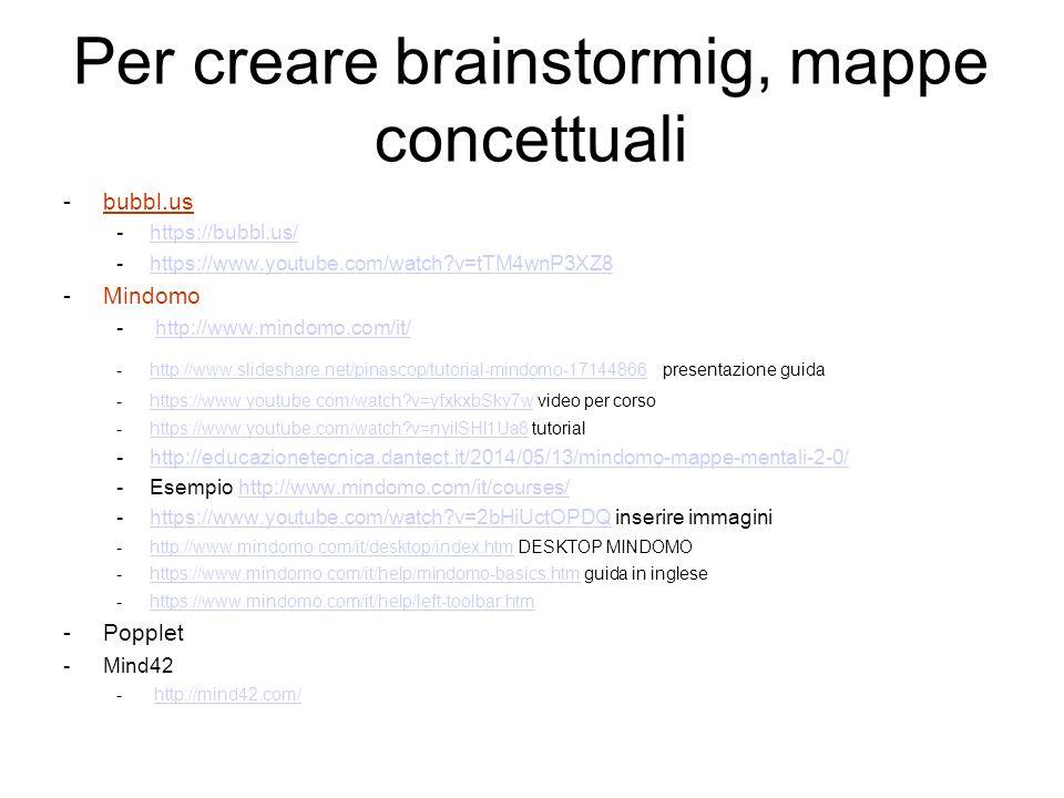 Per creare brainstormig, mappe concettuali -bubbl.us -https://bubbl.us/https://bubbl.us/ -https://www.youtube.com/watch?v=tTM4wnP3XZ8 https://www.yout