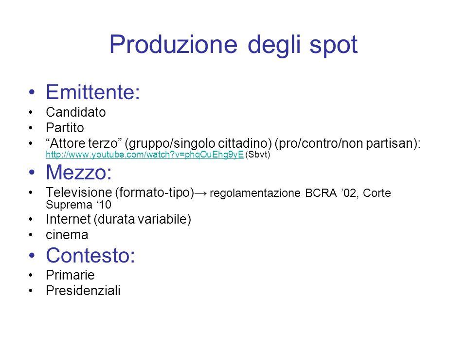 """Produzione degli spot Emittente: Candidato Partito """"Attore terzo"""" (gruppo/singolo cittadino) (pro/contro/non partisan): http://www.youtube.com/watch?v"""