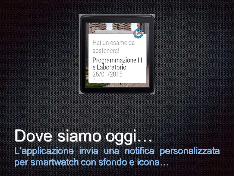 Testo Dove siamo oggi… L'applicazione invia una notifica personalizzata per smartwatch con sfondo e icona…