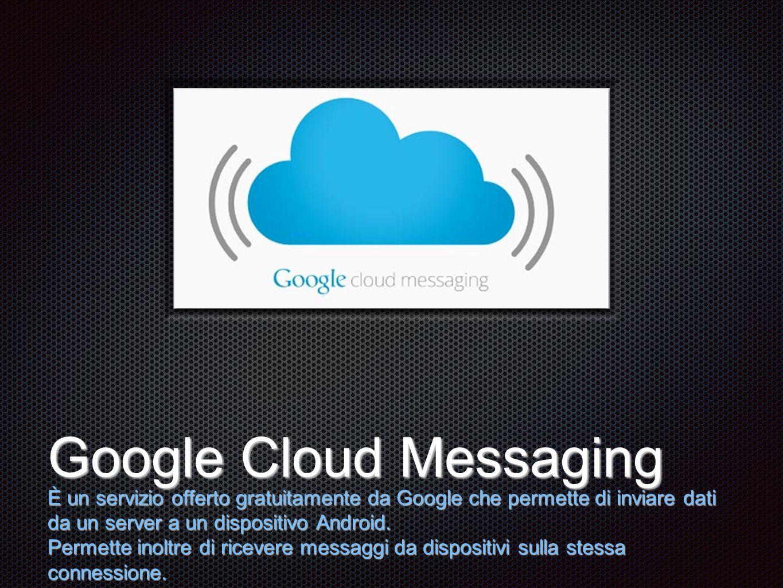 Testo Google Cloud Messaging È un servizio offerto gratuitamente da Google che permette di inviare dati da un server a un dispositivo Android.