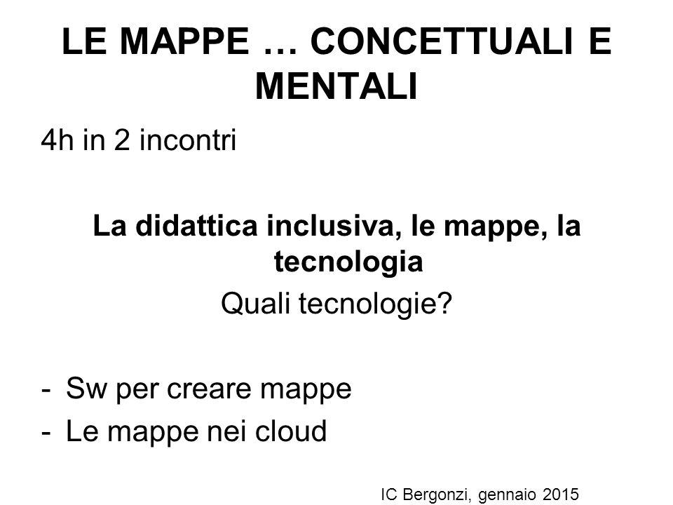 LE MAPPE … CONCETTUALI E MENTALI 4h in 2 incontri La didattica inclusiva, le mappe, la tecnologia Quali tecnologie? -Sw per creare mappe -Le mappe nei