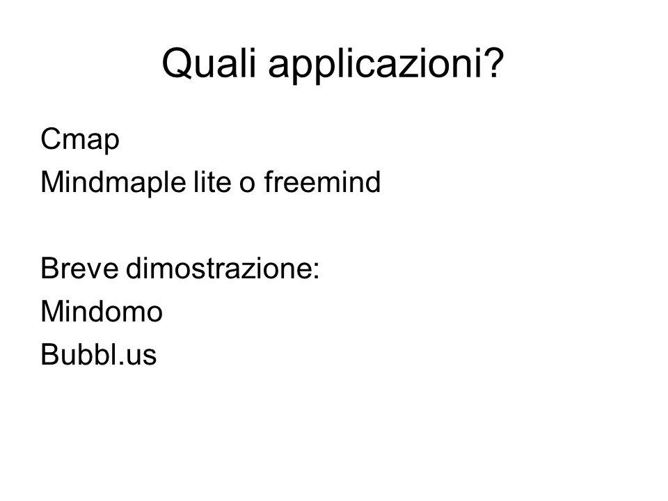Quali applicazioni? Cmap Mindmaple lite o freemind Breve dimostrazione: Mindomo Bubbl.us