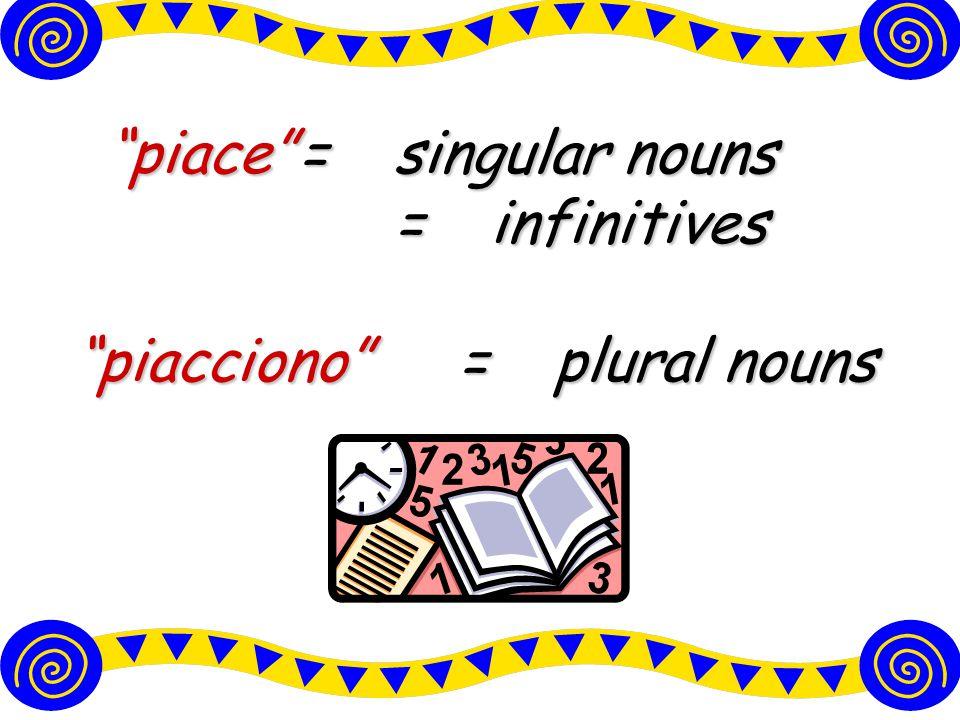 piace =singular nouns =infinitives piacciono =plural nouns