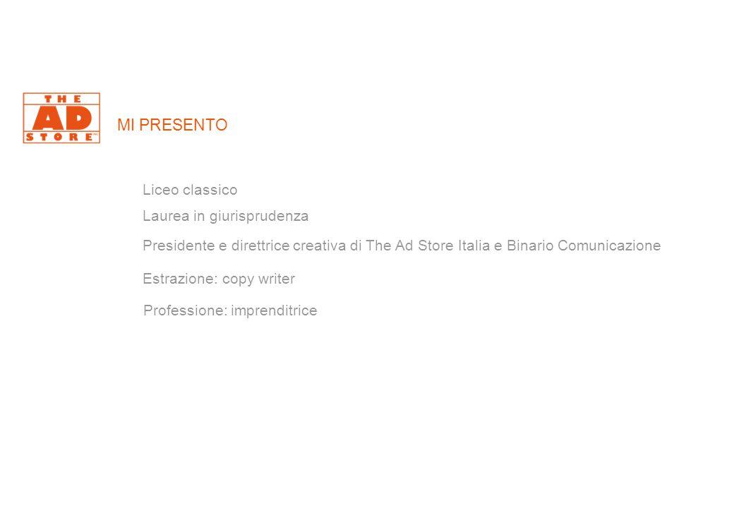 MI PRESENTO Liceo classico Laurea in giurisprudenza Presidente e direttrice creativa di The Ad Store Italia e Binario Comunicazione Estrazione: copy writer Professione: imprenditrice