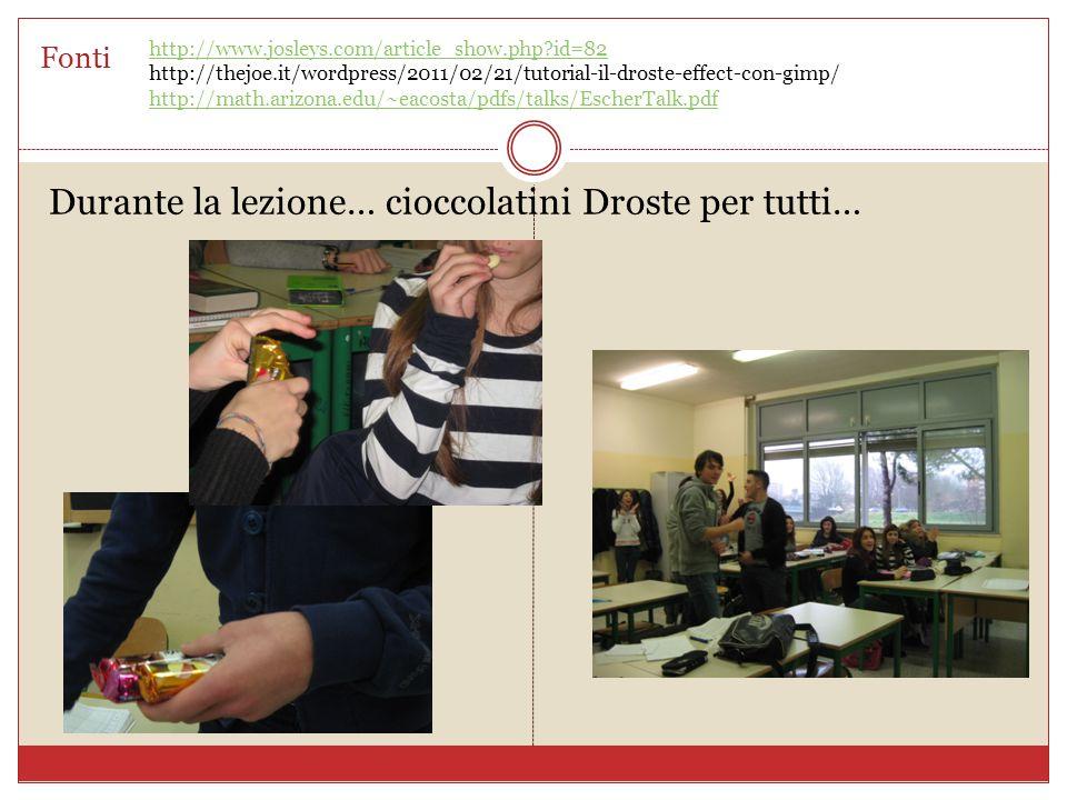 Fonti Durante la lezione… cioccolatini Droste per tutti… http://www.josleys.com/article_show.php id=82 http://thejoe.it/wordpress/2011/02/21/tutorial-il-droste-effect-con-gimp/ http://math.arizona.edu/~eacosta/pdfs/talks/EscherTalk.pdf