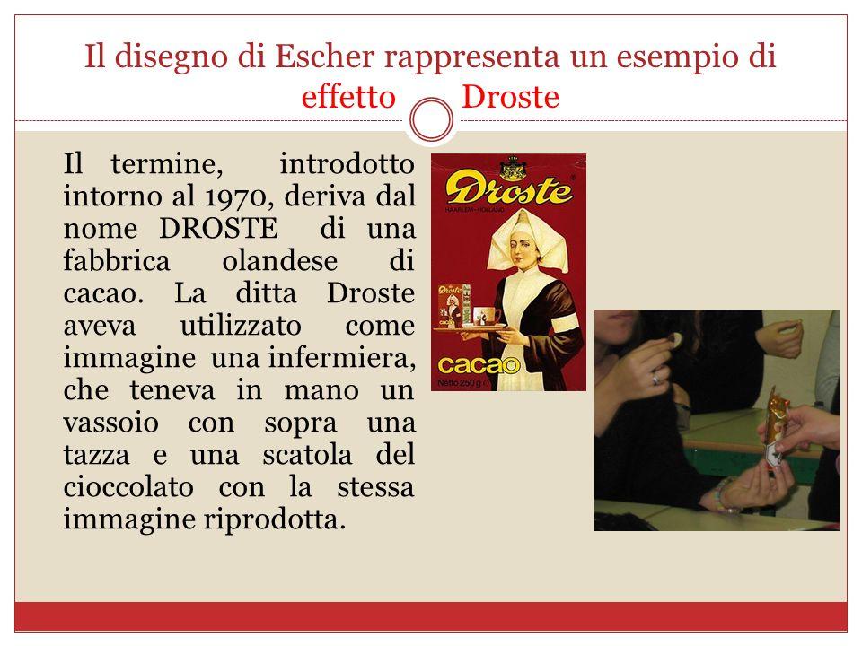 Il disegno di Escher rappresenta un esempio di effetto Droste Il termine, introdotto intorno al 1970, deriva dal nome DROSTE di una fabbrica olandese di cacao.