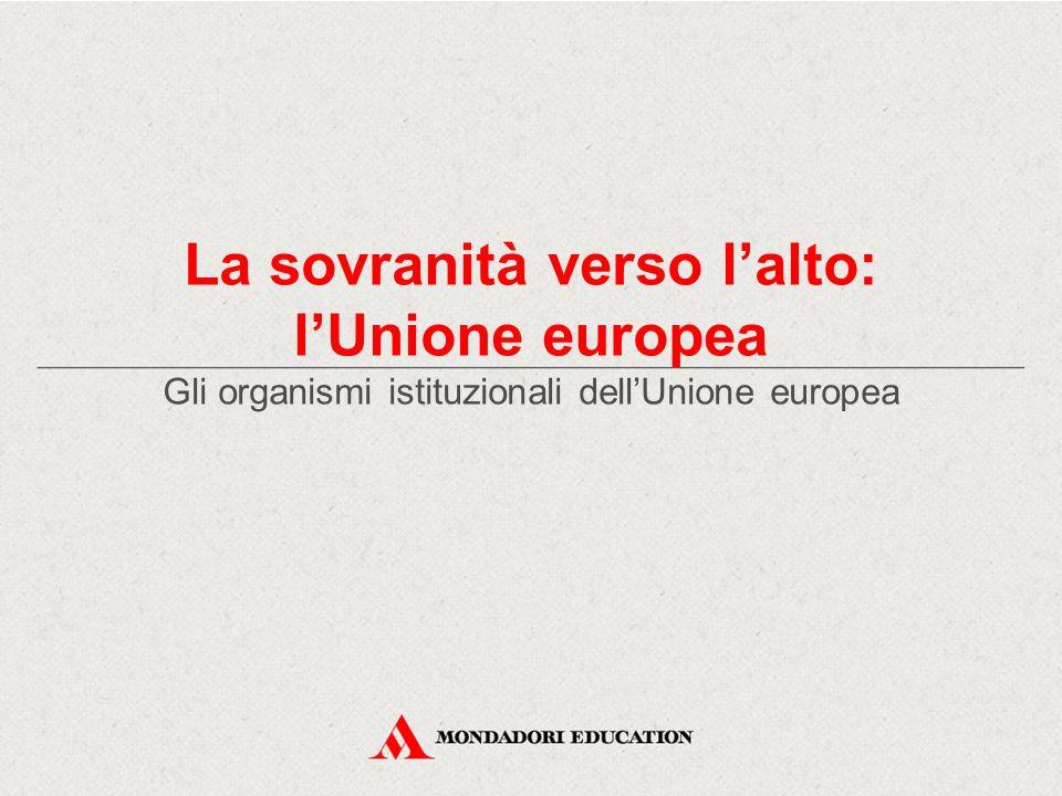 La sovranità verso l'alto: l'Unione europea Gli organismi istituzionali dell'Unione europea