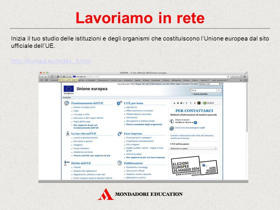 Lavoriamo in rete Inizia il tuo studio delle istituzioni e degli organismi che costituiscono l'Unione europea dal sito ufficiale dell'UE. http://europ