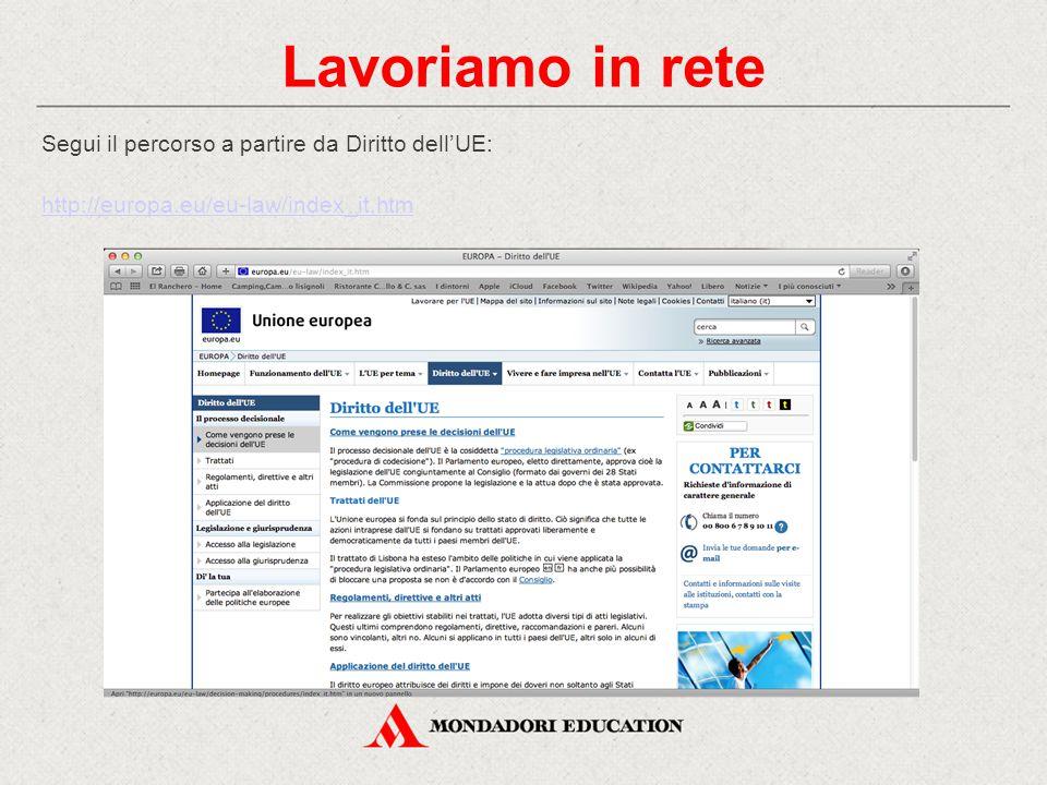 Lavoriamo in rete Segui il percorso a partire da Diritto dell'UE: http://europa.eu/eu-law/index_it.htm