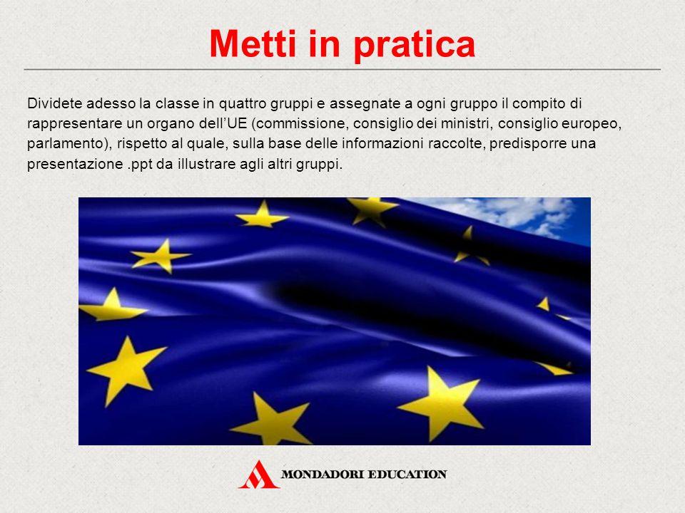 Metti in pratica Dividete adesso la classe in quattro gruppi e assegnate a ogni gruppo il compito di rappresentare un organo dell'UE (commissione, con