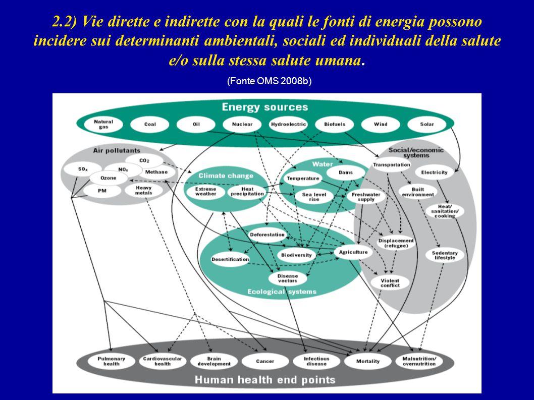 2.2) Vie dirette e indirette con la quali le fonti di energia possono incidere sui determinanti ambientali, sociali ed individuali della salute e/o su