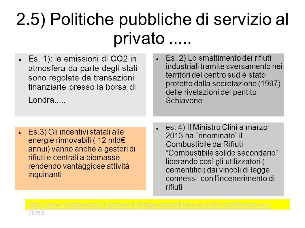 2.5) Politiche pubbliche di servizio al privato..... Es. 1): le emissioni di CO2 in atmosfera da parte degli stati sono regolate da transazioni finanz