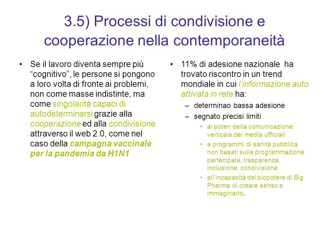 3.5) Processi di condivisione e cooperazione nella contemporaneità Se il lavoro diventa sempre più cognitivo , le persone si pongono a loro volta di fronte ai problemi, non come masse indistinte, ma come singolarità capaci di autodeterminarsi grazie alla cooperazione ed alla condivisione attraverso il web 2.0, come nel caso della campagna vaccinale per la pandemia da H1N1 11% di adesione nazionale ha trovato riscontro in un trend mondiale in cui l'informazione auto attivata in rete ha: –determinao bassa adesione –segnato precisi limiti ai poteri della comunicazione verticale dei media ufficiali a programmi di sanità pubblica non basati sulla programmazione partecipata, trasparenza, inclusione, condivisione all'incapacità del biopotere di Big Pharma di creare senso e immaginario.