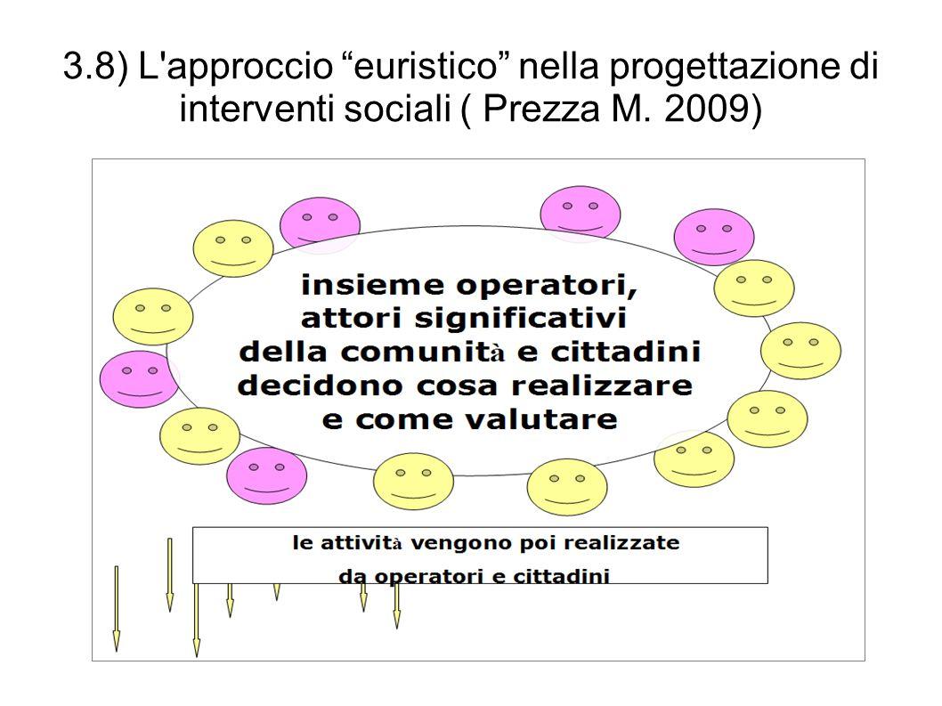 """3.8) L'approccio """"euristico"""" nella progettazione di interventi sociali ( Prezza M. 2009)"""