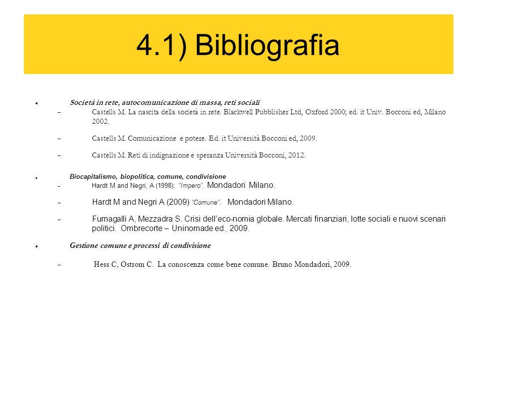 4.1) Bibliografia Società in rete, autocomunicazione di massa, reti sociali  Castells M. La nascita della società in rete. Blackwell Pubblisher Ltd,