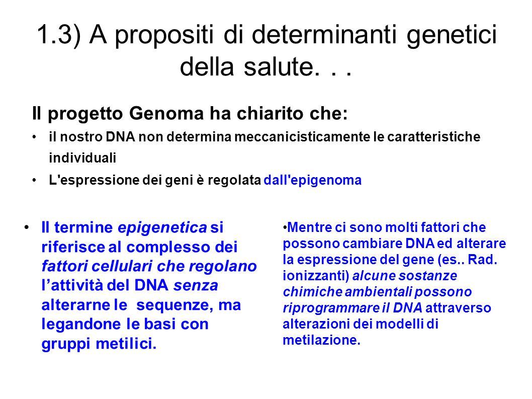 1.3) A propositi di determinanti genetici della salute... Il progetto Genoma ha chiarito che: il nostro DNA non determina meccanicisticamente le carat