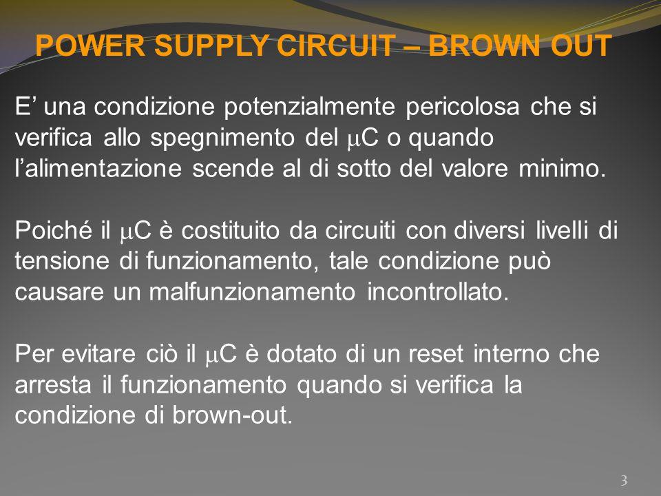 POWER SUPPLY CIRCUIT – MCLR MCLR = Master Clear Reset Nei  C senza dispositivo interno per il reset in caso di brown – out, si trova un pin a cui si può collegare un circuito di reset esterno per il controllo della corretta alimentazione.