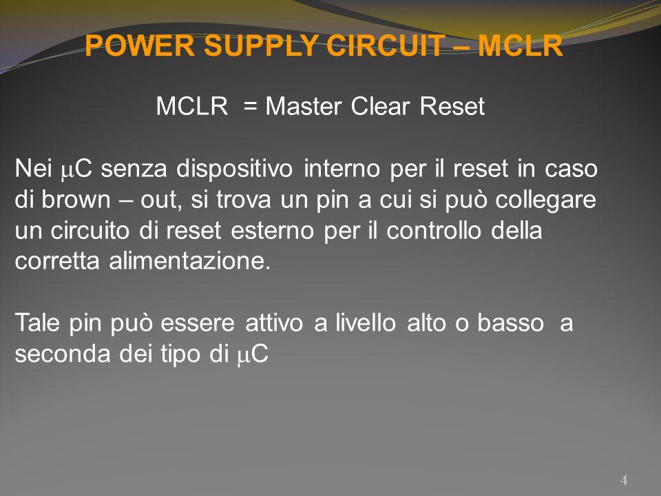 POWER SUPPLY CIRCUIT – MCLR MCLR = Master Clear Reset Nei  C senza dispositivo interno per il reset in caso di brown – out, si trova un pin a cui si