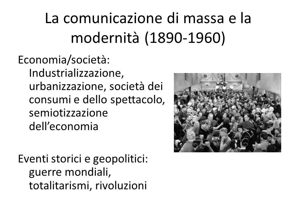 La comunicazione di massa e la modernità (1890-1960) Economia/società: Industrializzazione, urbanizzazione, società dei consumi e dello spettacolo, se