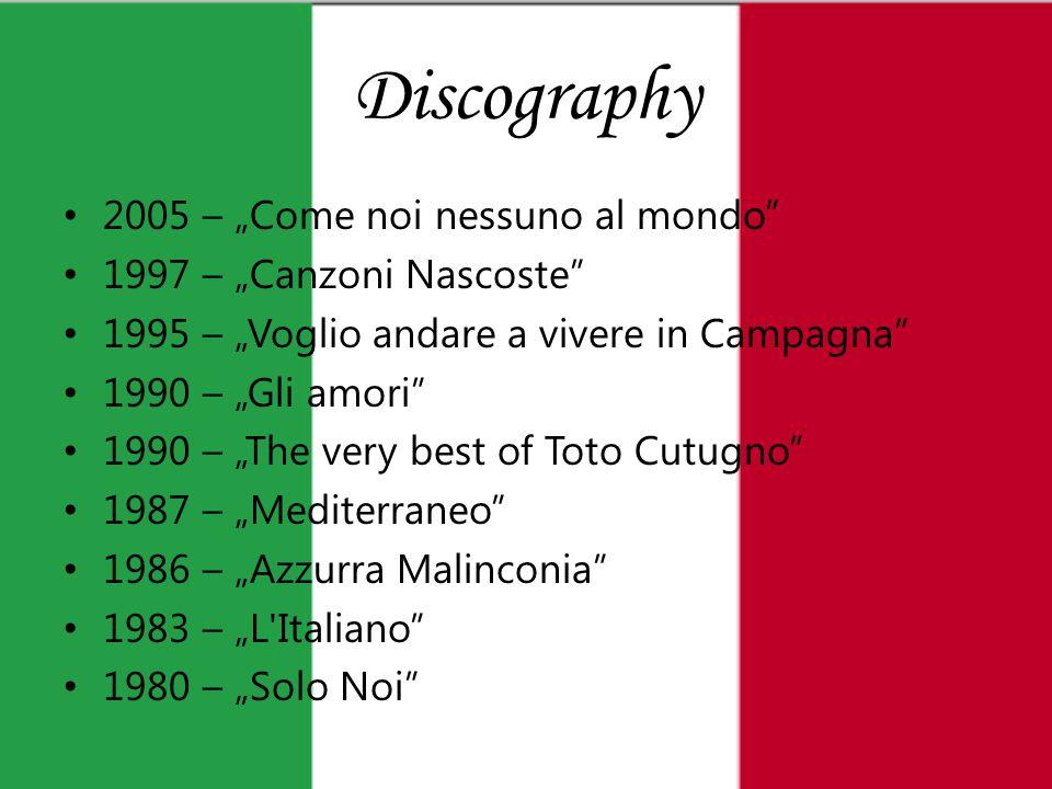 """Discography 2005 – """"Come noi nessuno al mondo 1997 – """"Canzoni Nascoste 1995 – """"Voglio andare a vivere in Campagna 1990 – """"Gli amori 1990 – """"The very best of Toto Cutugno 1987 – """"Mediterraneo 1986 – """"Azzurra Malinconia 1983 – """"L Italiano 1980 – """"Solo Noi"""