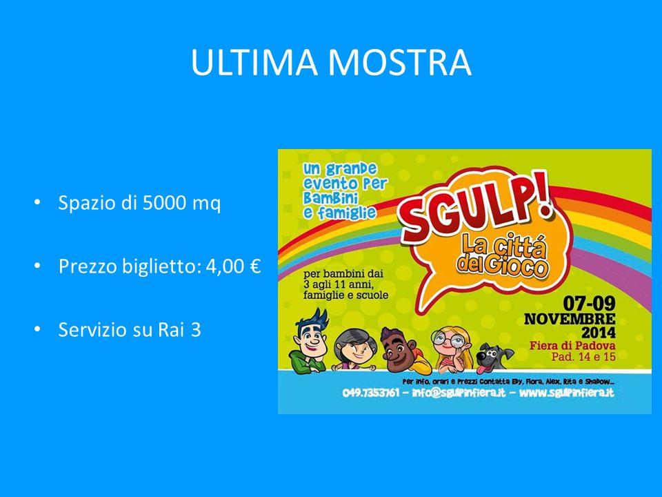 ULTIMA MOSTRA Spazio di 5000 mq Prezzo biglietto: 4,00 € Servizio su Rai 3