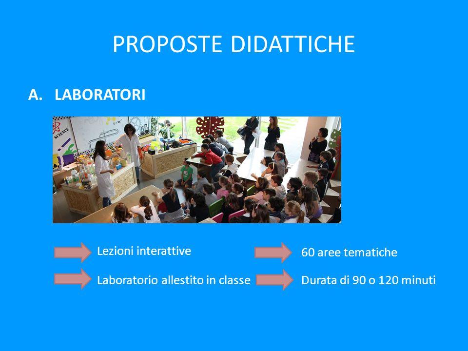 PROPOSTE DIDATTICHE A.LABORATORI Lezioni interattive Laboratorio allestito in classe 60 aree tematiche Durata di 90 o 120 minuti