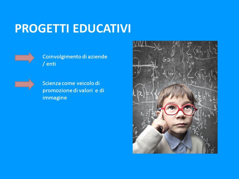 PROGETTI EDUCATIVI Coinvolgimento di aziende / enti Scienza come veicolo di promozione di valori e di immagine