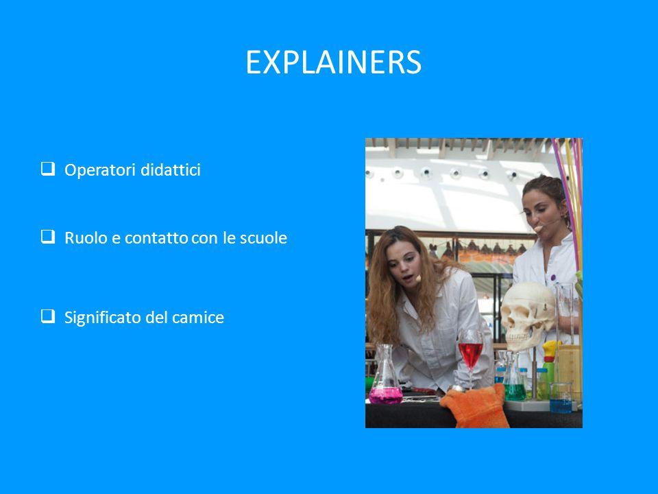 EXPLAINERS  Operatori didattici  Ruolo e contatto con le scuole  Significato del camice