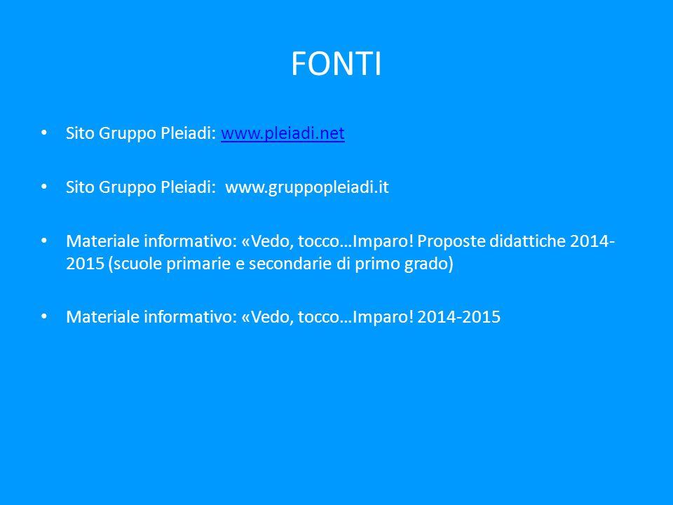FONTI Sito Gruppo Pleiadi: www.pleiadi.netwww.pleiadi.net Sito Gruppo Pleiadi: www.gruppopleiadi.it Materiale informativo: «Vedo, tocco…Imparo.