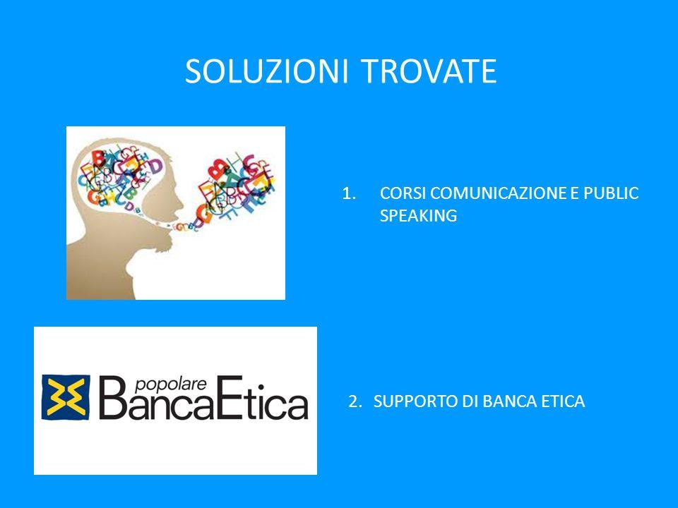 SOLUZIONI TROVATE 1.CORSI COMUNICAZIONE E PUBLIC SPEAKING 2.SUPPORTO DI BANCA ETICA