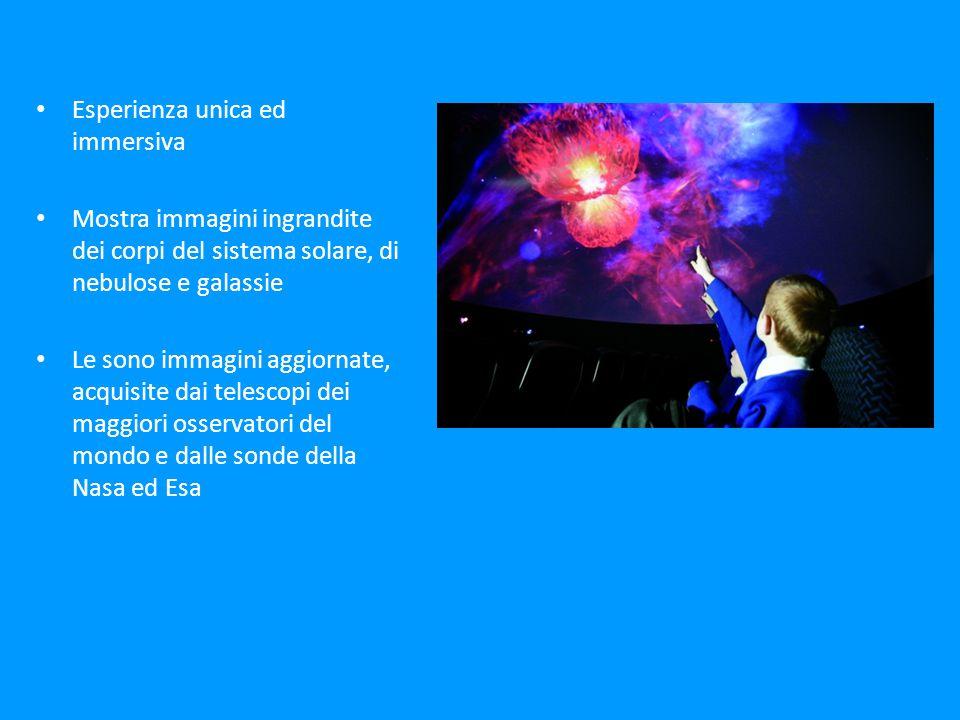 Esperienza unica ed immersiva Mostra immagini ingrandite dei corpi del sistema solare, di nebulose e galassie Le sono immagini aggiornate, acquisite dai telescopi dei maggiori osservatori del mondo e dalle sonde della Nasa ed Esa