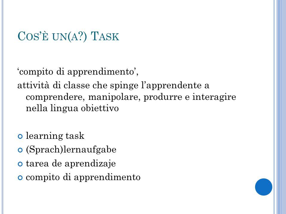 C OS ' È UN ( A ?) T ASK 'compito di apprendimento', attività di classe che spinge l'apprendente a comprendere, manipolare, produrre e interagire nell