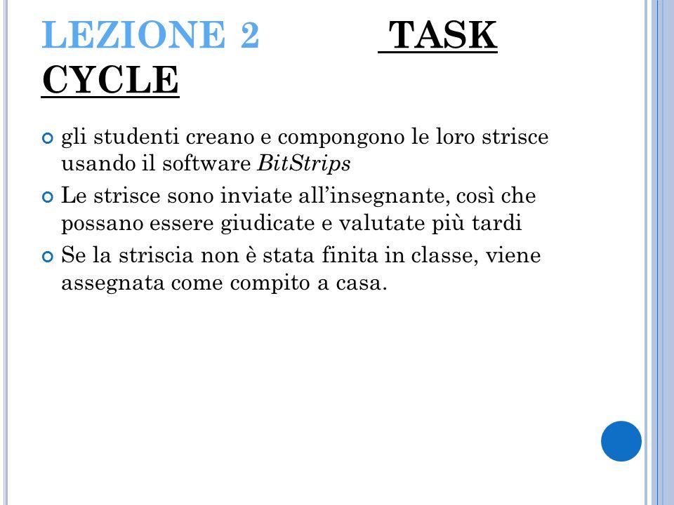 LEZIONE 2 TASK CYCLE gli studenti creano e compongono le loro strisce usando il software BitStrips Le strisce sono inviate all'insegnante, così che po