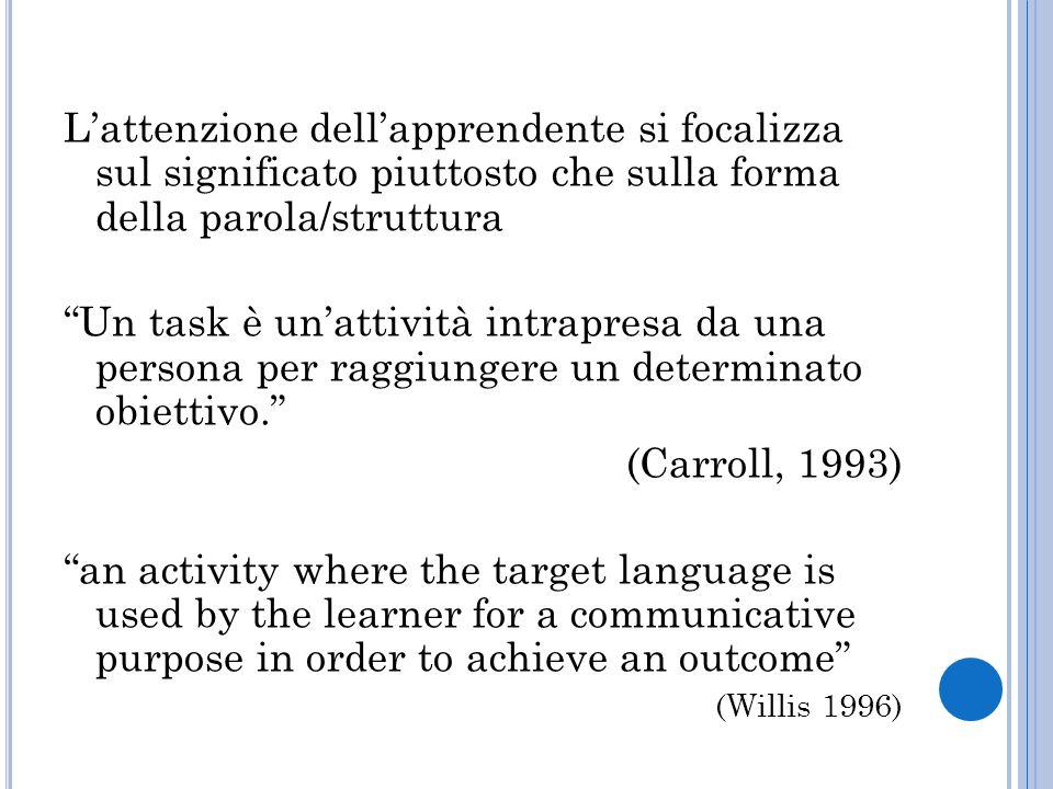 """L'attenzione dell'apprendente si focalizza sul significato piuttosto che sulla forma della parola/struttura """"Un task è un'attività intrapresa da una p"""