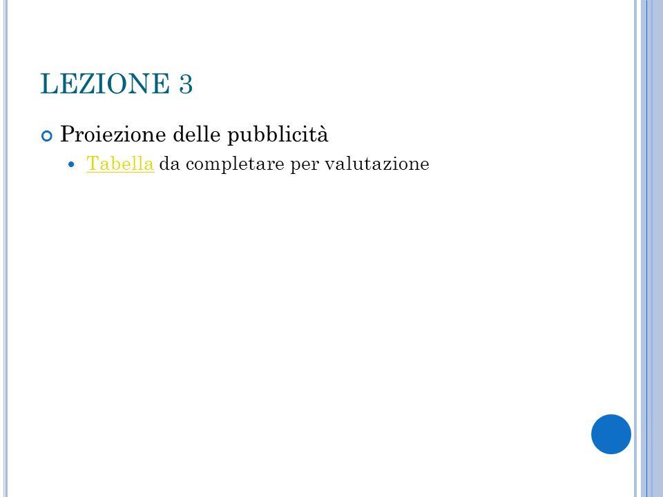 LEZIONE 3 Proiezione delle pubblicità Tabella da completare per valutazione Tabella