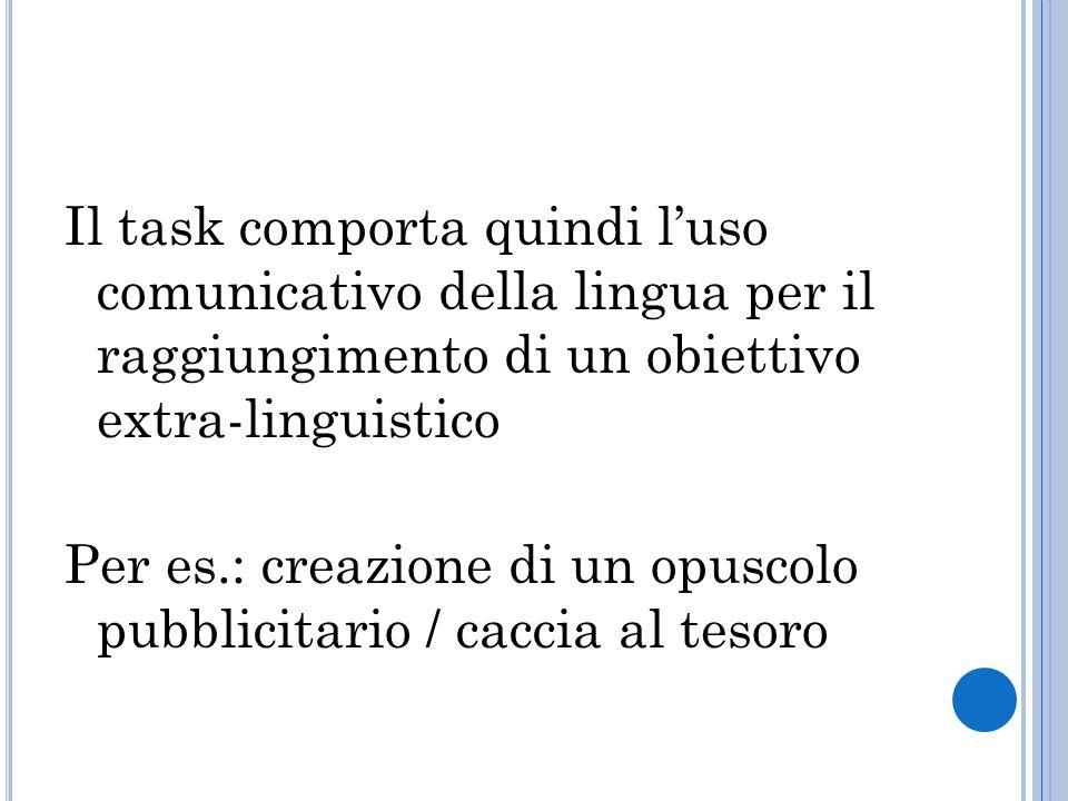 Il task comporta quindi l'uso comunicativo della lingua per il raggiungimento di un obiettivo extra-linguistico Per es.: creazione di un opuscolo pubb