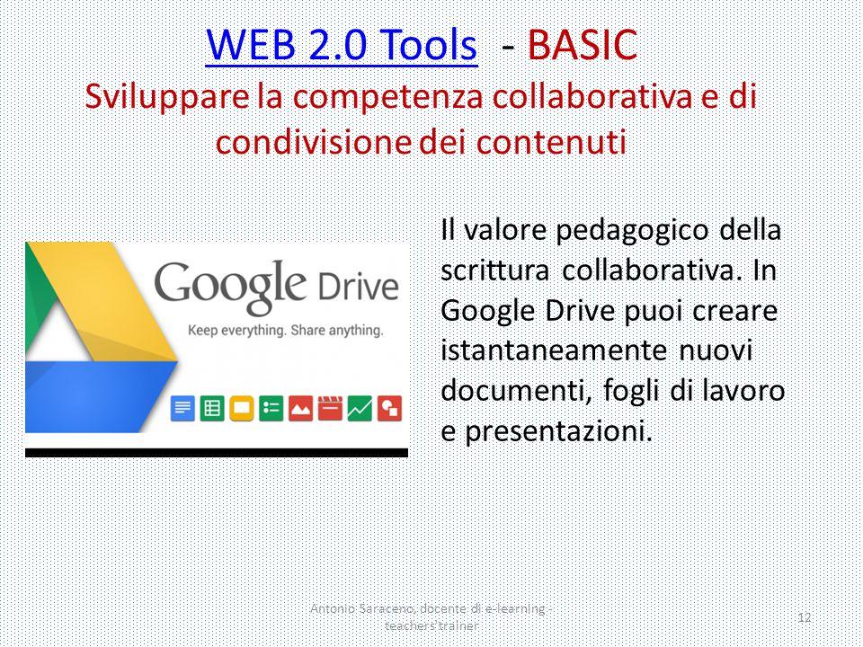 Antonio Saraceno, docente di e-learning - teachers'trainer 12 Il valore pedagogico della scrittura collaborativa. In Google Drive puoi creare istantan