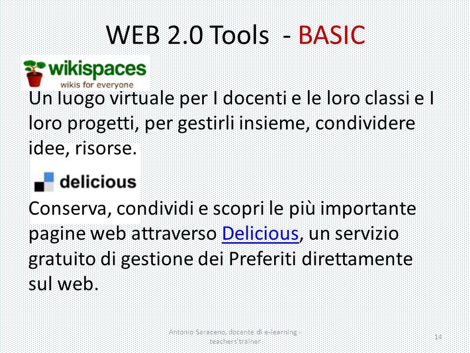WEB 2.0 Tools - BASIC Un luogo virtuale per I docenti e le loro classi e I loro progetti, per gestirli insieme, condividere idee, risorse. Conserva, c