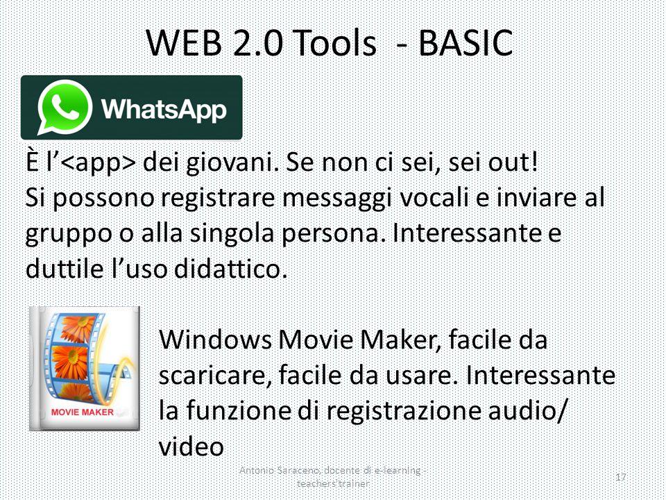 WEB 2.0 Tools - BASIC Antonio Saraceno, docente di e-learning - teachers'trainer 17 È l' dei giovani. Se non ci sei, sei out! Si possono registrare me