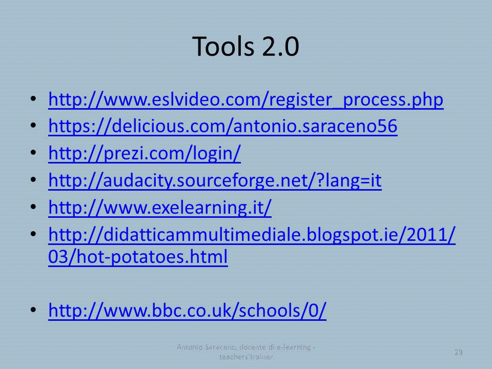 Tools 2.0 http://www.eslvideo.com/register_process.php https://delicious.com/antonio.saraceno56 http://prezi.com/login/ http://audacity.sourceforge.ne