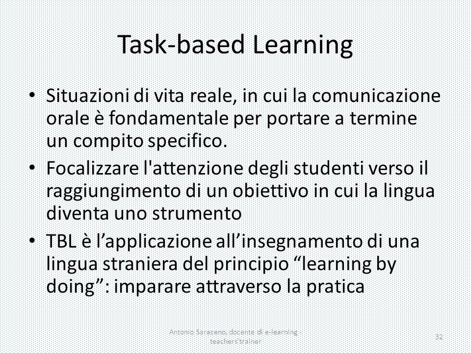Task-based Learning Antonio Saraceno, docente di e-learning - teachers'trainer 32 Situazioni di vita reale, in cui la comunicazione orale è fondamenta