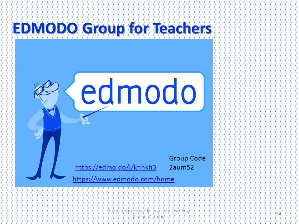 EDMODO Group for Teachers Antonio Saraceno, docente di e-learning - teachers' trainer 34 Group Code 2aum52 https://www.edmodo.com/home https://edmo.do