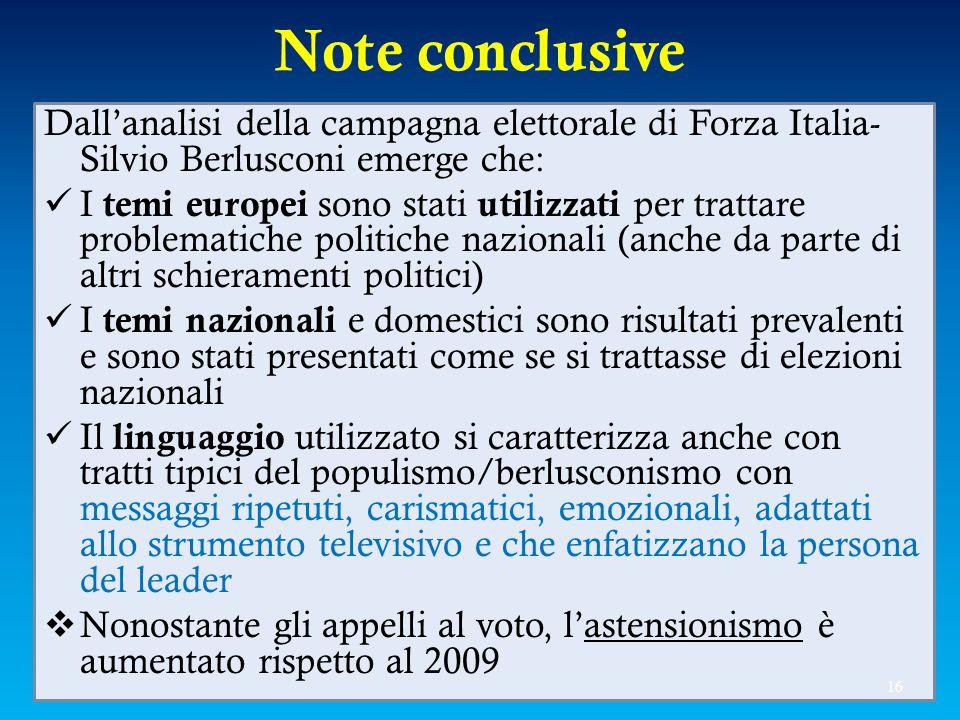 Note conclusive Dall'analisi della campagna elettorale di Forza Italia- Silvio Berlusconi emerge che: I temi europei sono stati utilizzati per trattar