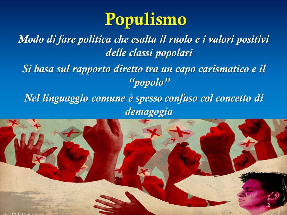Populismo Populismo Modo di fare politica che esalta il ruolo e i valori positivi delle classi popolari Si basa sul rapporto diretto tra un capo caris