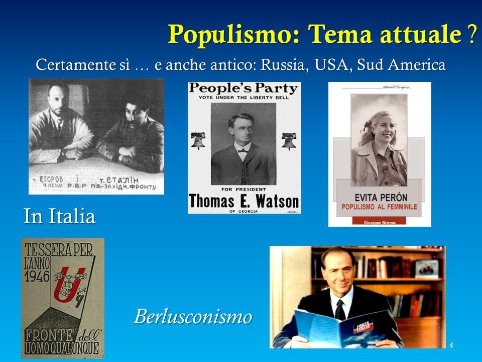 Populismo: Tema attuale ? 4 Certamente sì … e anche antico: Russia, USA, Sud America Berlusconismo InItalia In Italia
