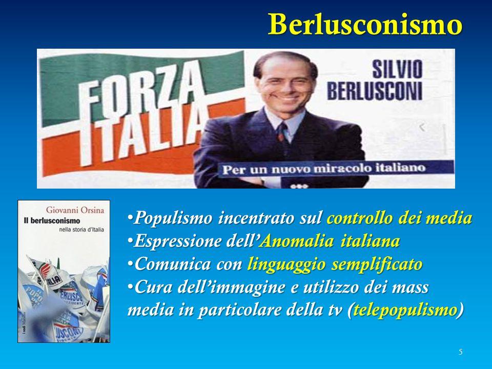 Berlusconismo 5 Populismo incentrato sul controllo dei media Populismo incentrato sul controllo dei media Espressione dell'Anomalia italiana Espressio