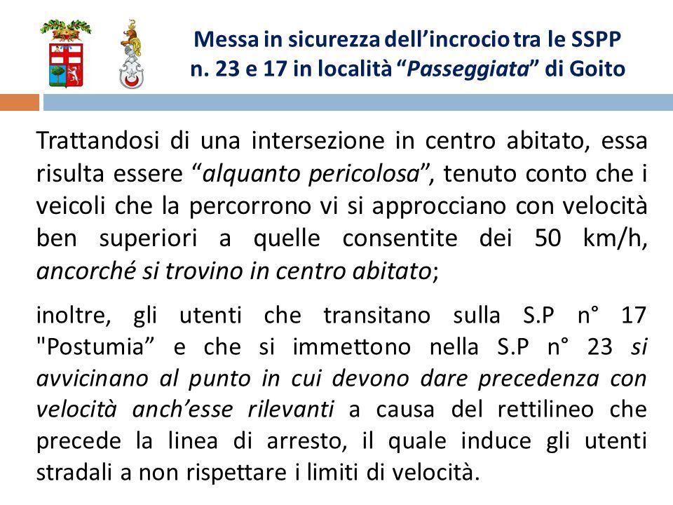 Messa in sicurezza dell'incrocio tra le SSPP n.