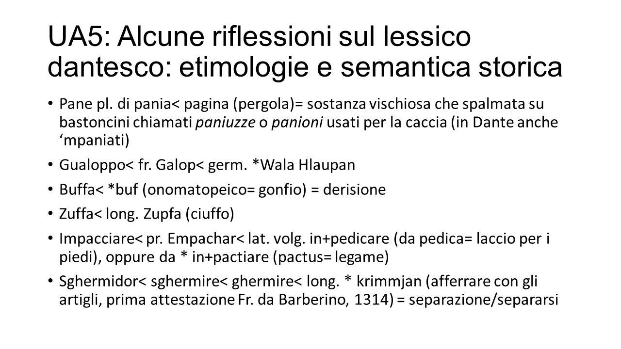 UA5: Alcune riflessioni sul lessico dantesco: etimologie e semantica storica Pane pl.