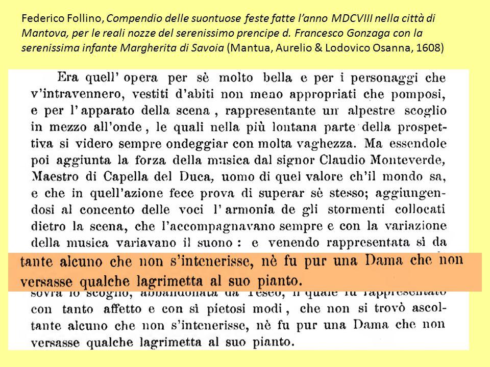 Federico Follino, Compendio delle suontuose feste fatte l'anno MDCVIII nella città di Mantova, per le reali nozze del serenissimo prencipe d.