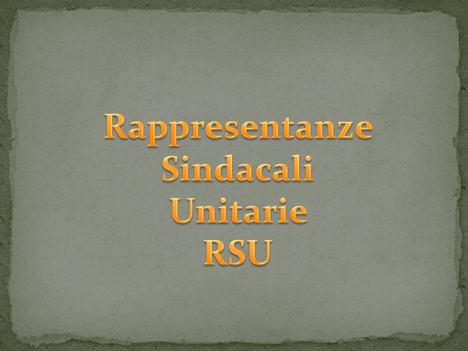 Evoluzione storica delle forme di rappresentanza sindacale nei luoghi di lavoro Prima delle RSU, sostanzialmente sono state tre le forme di rappresentanza sindacale nei luoghi di lavoro che si sono succedute nel tempo in Italia: le Commissioni Interne, i Consigli di Fabbrica e le Rappresentanze Sindacali Aziendali.